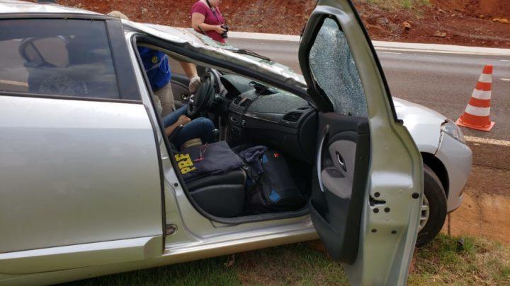 Policial Rodoviário Federal ficou ferido após capotar viatura descaracterizada na PR-158