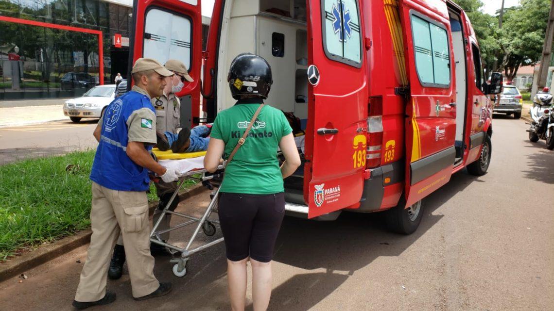Motociclista e ciclista ficam feridos em acidente na avenida Jorge Walter em Campo Mourão