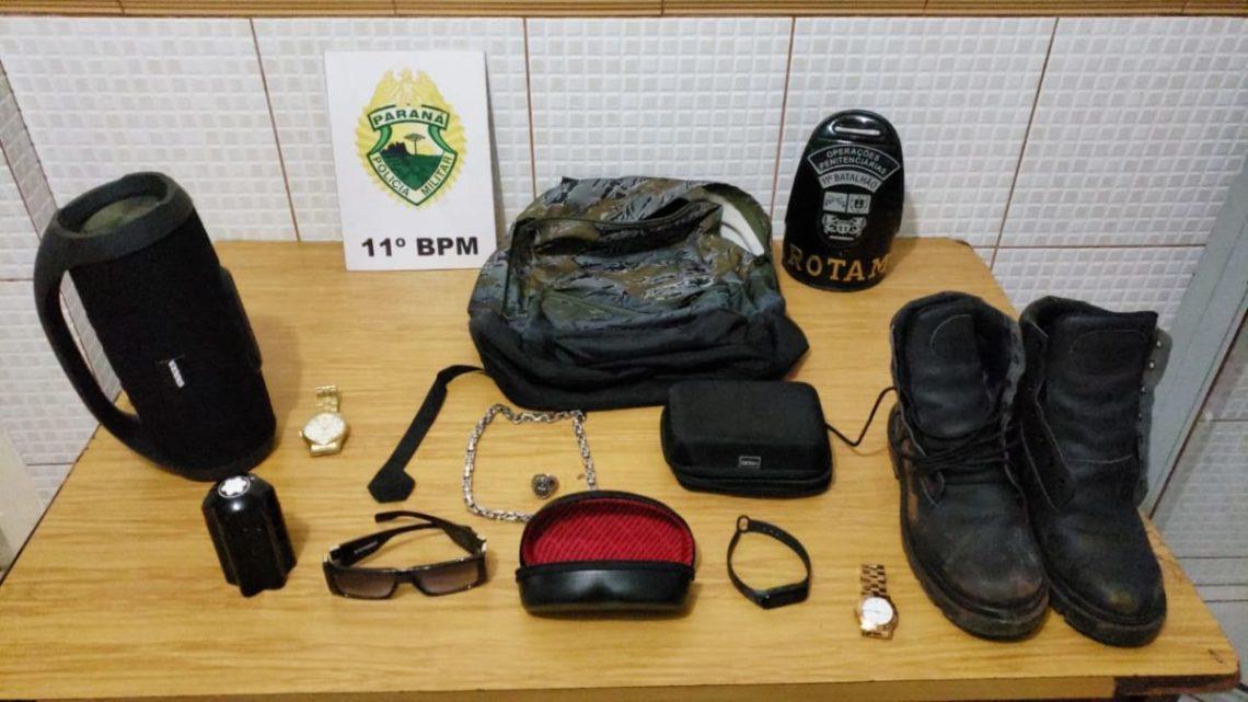 """O """"mão leve"""" acusado de furtos a várias residências de Campo Mourão é preso pela ROTAM"""
