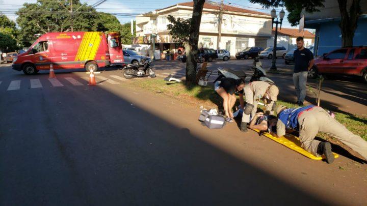 Acidente envolvendo três motocicletas deixa 3 feridos em Campo Mourão
