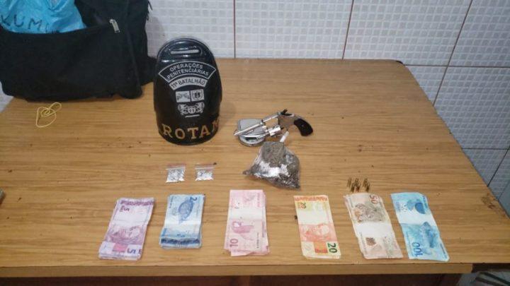 ROTAM prende duas pessoas por porte ilegal de arma de fogo e tráfico de drogas