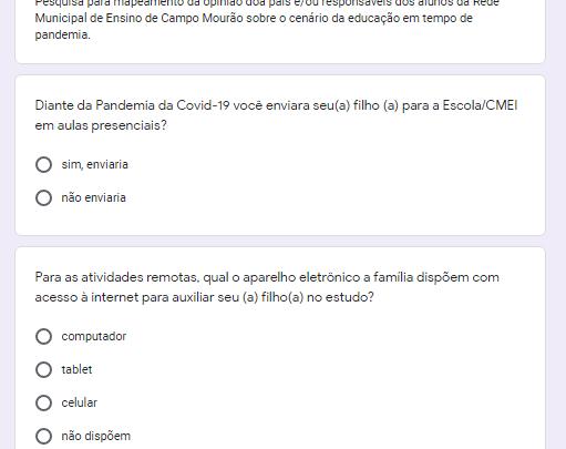 Secretaria Municipal de educação de C.Mourão lança pesquisas aos pais e sobre volta as aulas