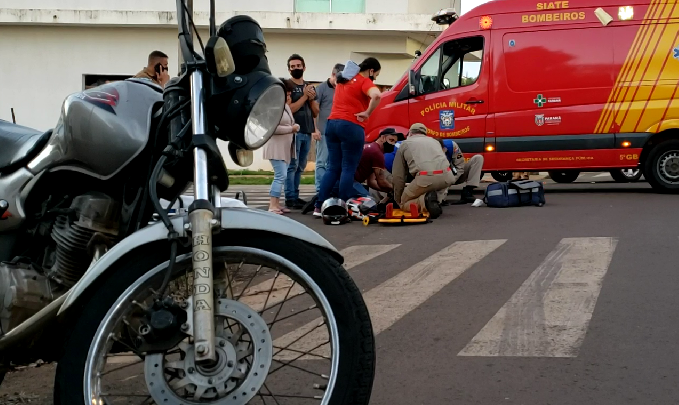 Mãe e filha feridas em acidente no centro